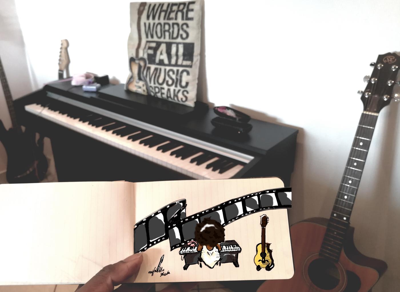 fumetto-ragazza-nera-piano-immagine-vettoriale-chitarra-musica